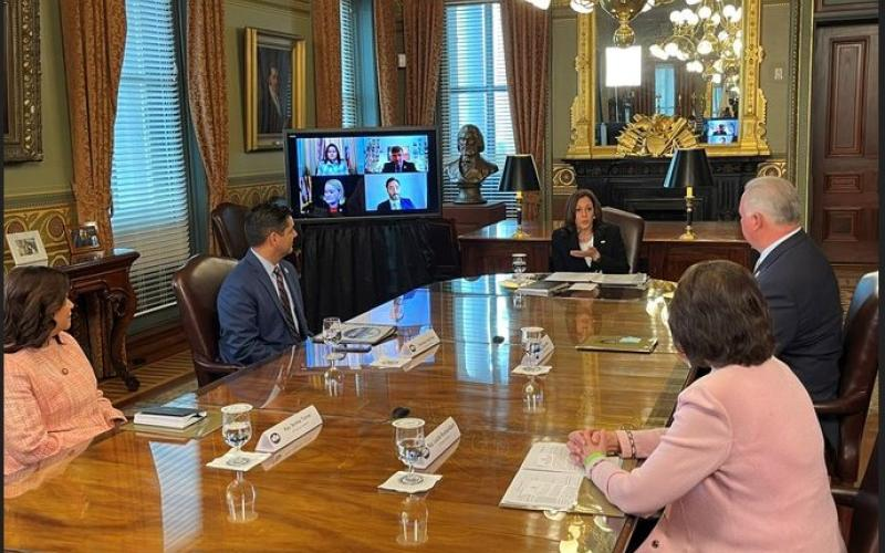 Congressman and other members of Congress meet with VP Harris
